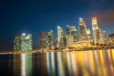 Evening photo of Singapore Downtown near city marina