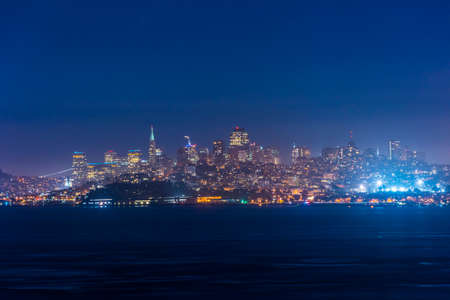 Evening photo of a San Francisco skyline seen from the Golden Gate bridge. California, USA