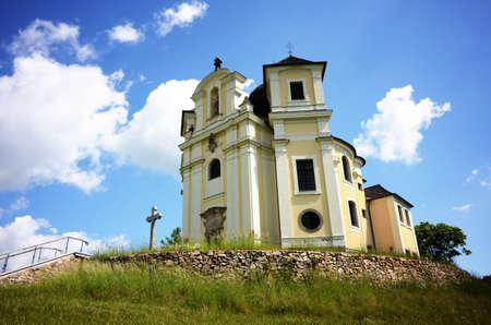 Small baroque pilgrimage church on Makova hora near Smolotely village, Czech Republic Imagens