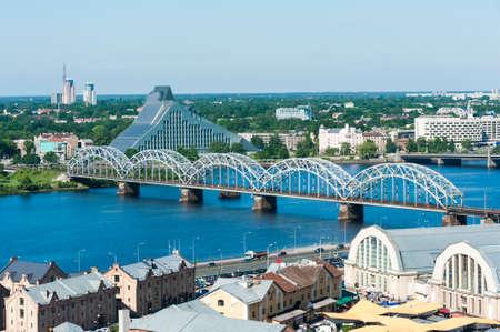 View at Riga Railway Bridge city from above, Latvia