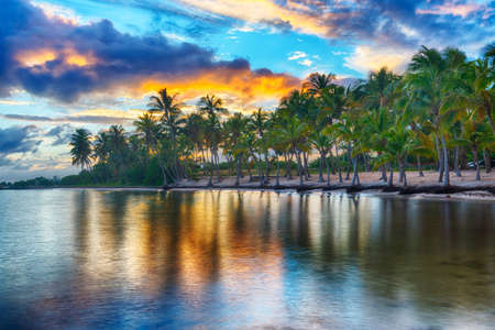 Sunset over Anse Champagne beach in Saint Francois, Guadeloupe, Caribbean Banque d'images