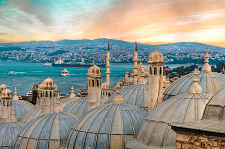 View from the Suleymaniye Mosque complex to the Golden Horn, Istanbul, Turkey. Sunset time Stok Fotoğraf