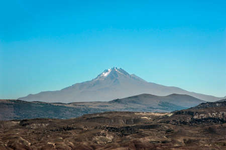 Mount Erciyes with height of 3,864 metres is the highest mountain in Cappadocia and central Anatolia. It is a dormant volcano. Turkey.