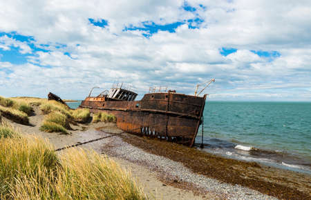 Wreck of Amadeo steamship build in 19th century in United Kingdom is since 1932 beached near Estancia San Gregorio, Chile Stock Photo