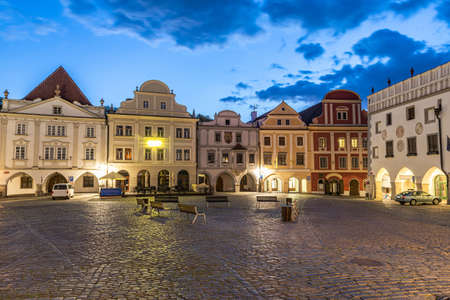 Photo of completly empty town square Svornosti (Namesti svornosti) in Cesky Krumlov early in the evening. This place is usually full of tourists from all around the world but covid-19 quarantine emptied this town totally. Czech Republic