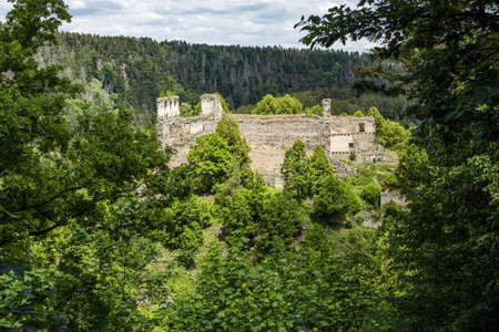 Ruins  of an old gothic castle Divci kamen (Maiden's Stone) in the Southern Czech Republic neer the town of Kremze