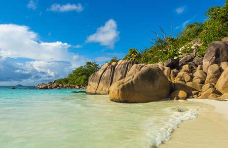 Beautiful and a famous beach Anse Lazio with granite boulders, Praslin island, Seychelles. Zdjęcie Seryjne
