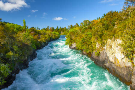Wild Waikato River near Huka Falls, New Zealand