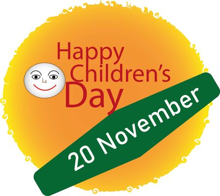 Illustration of the happy childrens day logo or icon background design