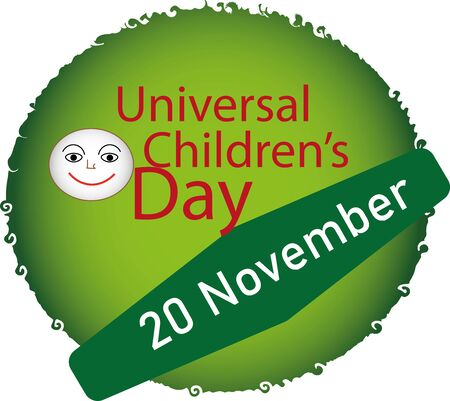 Illustration of the universal childrens day icon or logo button design 向量圖像