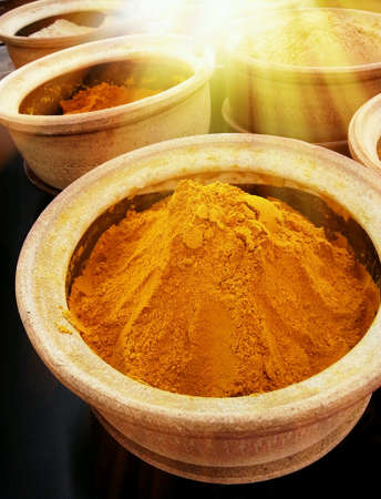 Curry powder on market Stock Photo