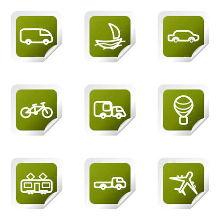 Set of 9 glossy web icons (set 5). Green square with corner.