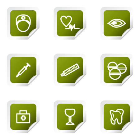 Set of 9 glossy web icons (set 6). Green square with corner. Vector