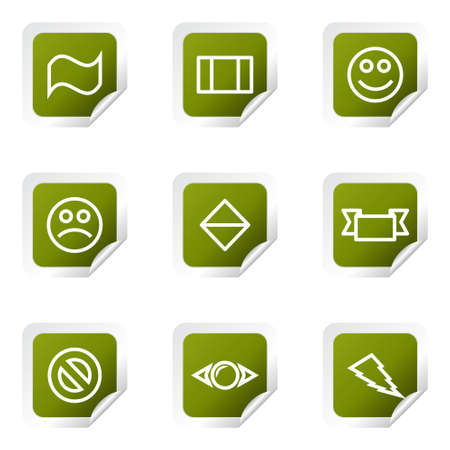 Set of 9 glossy web icons (set 8). Green square with corner. Illustration