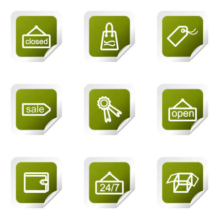 Set of 9 glossy web icons . Green square with corner. Vector