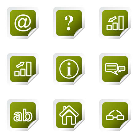 Set of 9 glossy web icons (set 13). Green square with corner. Vector