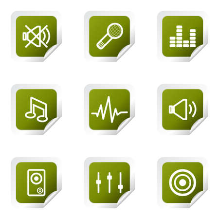 Set of 9 glossy web icons (set 15). Green square with corner.