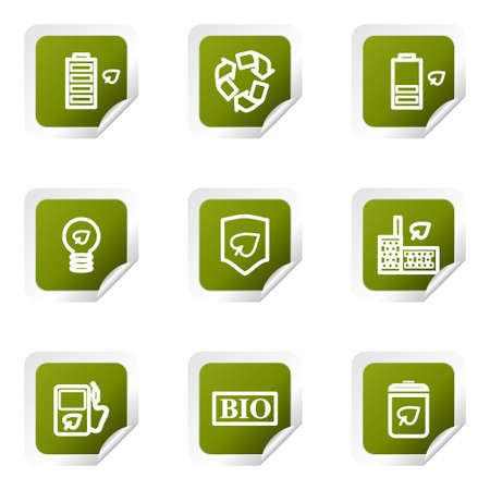 Set of 9 glossy web icons. Green square with corner. Stock Vector - 14736384