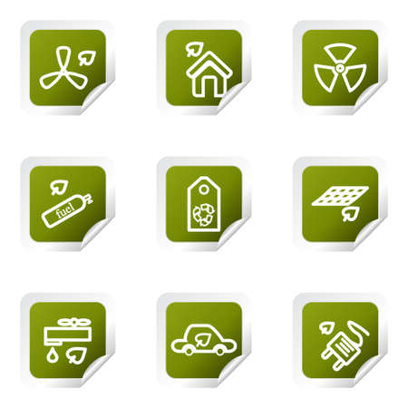 Set of 9 glossy web icons . Green square with corner. Stock Vector - 14736385