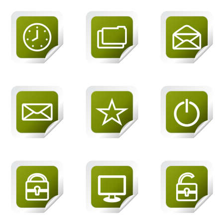 Set of 9 glossy web icons (set 21). Green square with corner. Stock Vector - 14736197