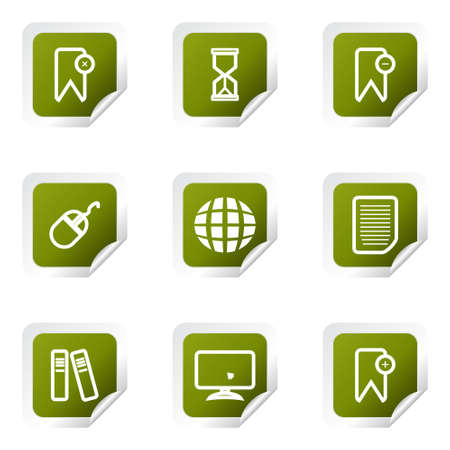 Set of 9 glossy web icons (set 22). Green square with corner. Vector