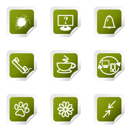 Set of 9 glossy web icons. Green square with corner.