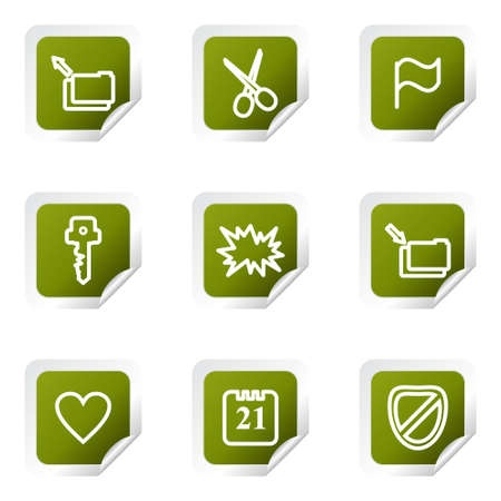 Set of 9 glossy web icons (set 27). Green square with corner. Stock Vector - 14723803