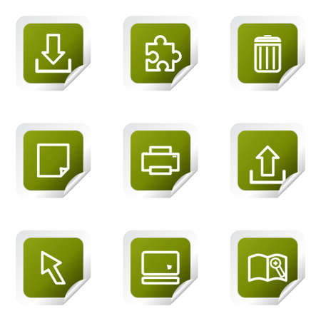 Set of 9 glossy web icons (set 28). Green square with corner. Stock Vector - 14736201