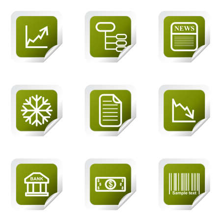 comerce: Set of 9 glossy web icons. Green square with corner.
