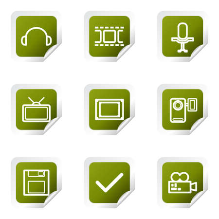 Set of 9 glossy web icons (set 30). Green square with corner. Stock Vector - 14736198