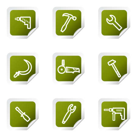 Set of 9 glossy web icons . Green square with corner.