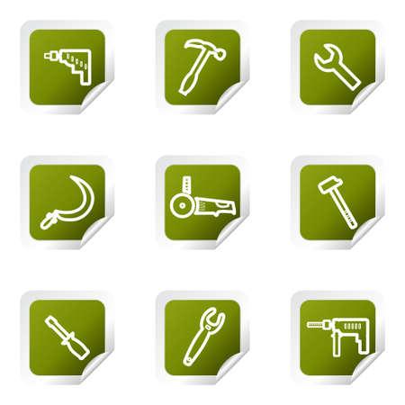 Set von 9 glänzend Web-Symbole. Grünes Quadrat mit Ecke. Standard-Bild - 14736375