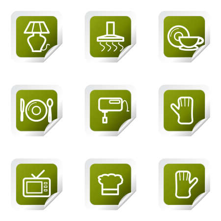 Set of 9 glossy web icons (set 33). Green square with corner. Vector