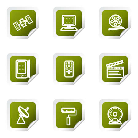 orbital spacecraft: Set of 9 glossy web icons . Green square with corner.