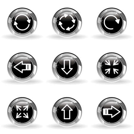 Set of 9 glossy web icons . Black circle with star reflection and shadow. Stock Vector - 14736411