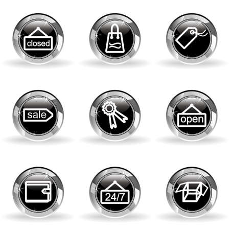 Set of 9 glossy web icons. Black circle with star reflection and shadow. Stock Vector - 14736434