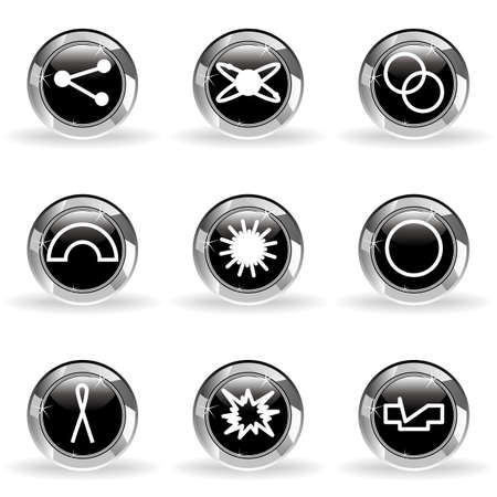 Set of 9 glossy web icons. Black circle with star reflection and shadow. Vector
