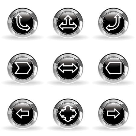 Set of 9 glossy web icons. Black circle with star reflection and shadow. Stock Vector - 14736408