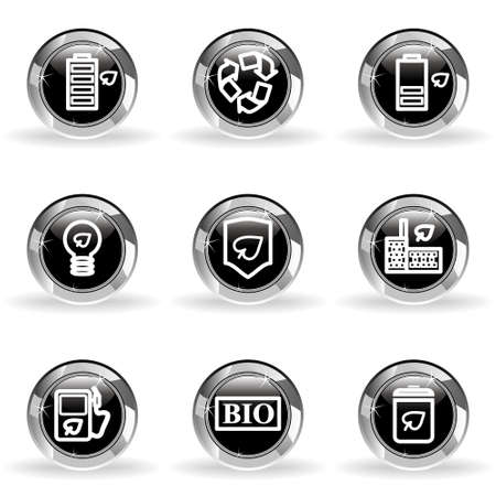 Set of 9 glossy web icons. Black circle with star reflection and shadow. Stock Vector - 14736437