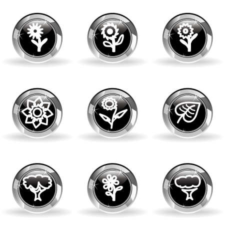 Set of 9 glossy web icons . Black circle with star reflection and shadow. Stock Vector - 14736440