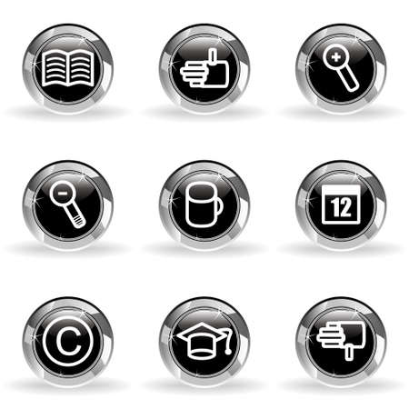 Set of 9 glossy web icons. Black circle with star reflection and shadow. Stock Vector - 14736427