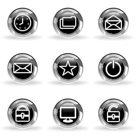Set of 9 glossy web icons . Black circle with star reflection and shadow. Stock Vector - 14736415