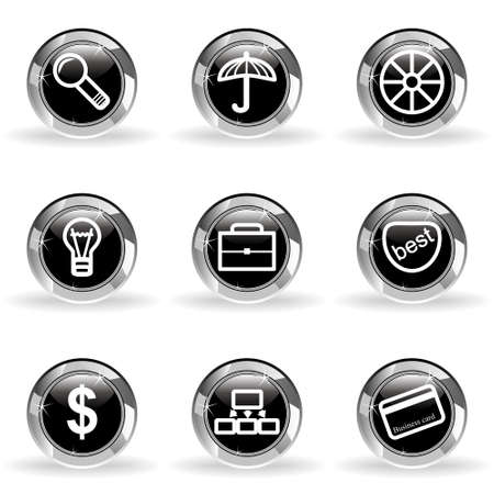 Set of 9 glossy web icons . Black circle with star reflection and shadow. Stock Vector - 14736432