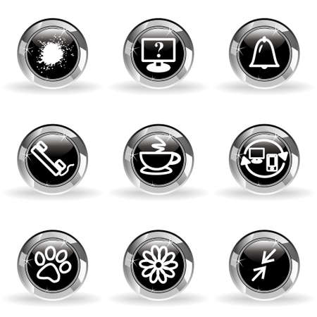 icq: Set of 9 glossy web icons. Black circle with star reflection and shadow. Illustration