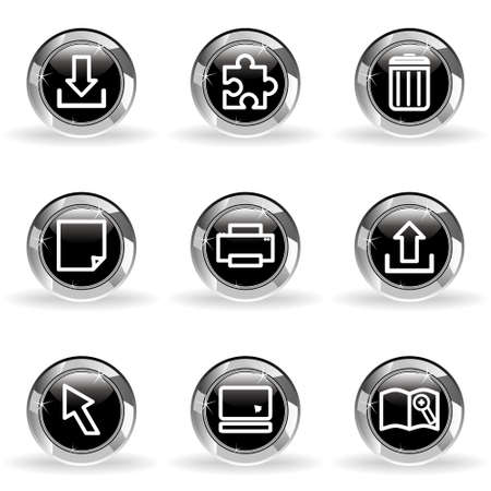 Set of 9 glossy web icons . Black circle with star reflection and shadow. Stock Vector - 14736418