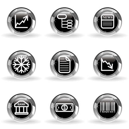 Set of 9 glossy web icons. Black circle with star reflection and shadow. Illustration