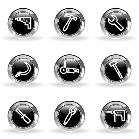 Set of 9 glossy web icons . Black circle with star reflection and shadow. Vector