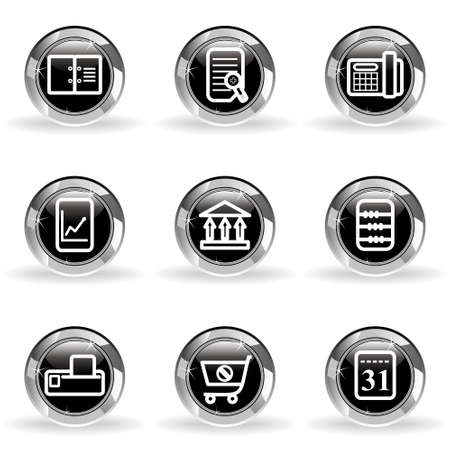 Set of 9 glossy web icons. Black circle with star reflection and shadow. Stock Vector - 14736428