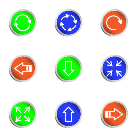 Set of 9 glossy web icons. Color circle. Stock Vector - 14736389