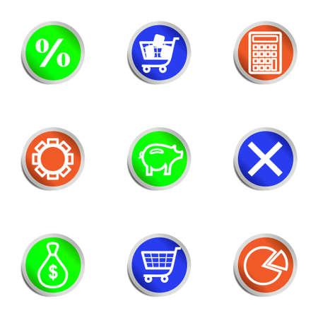 Set of 9 glossy web icons . Color circle. Stock Vector - 14736450
